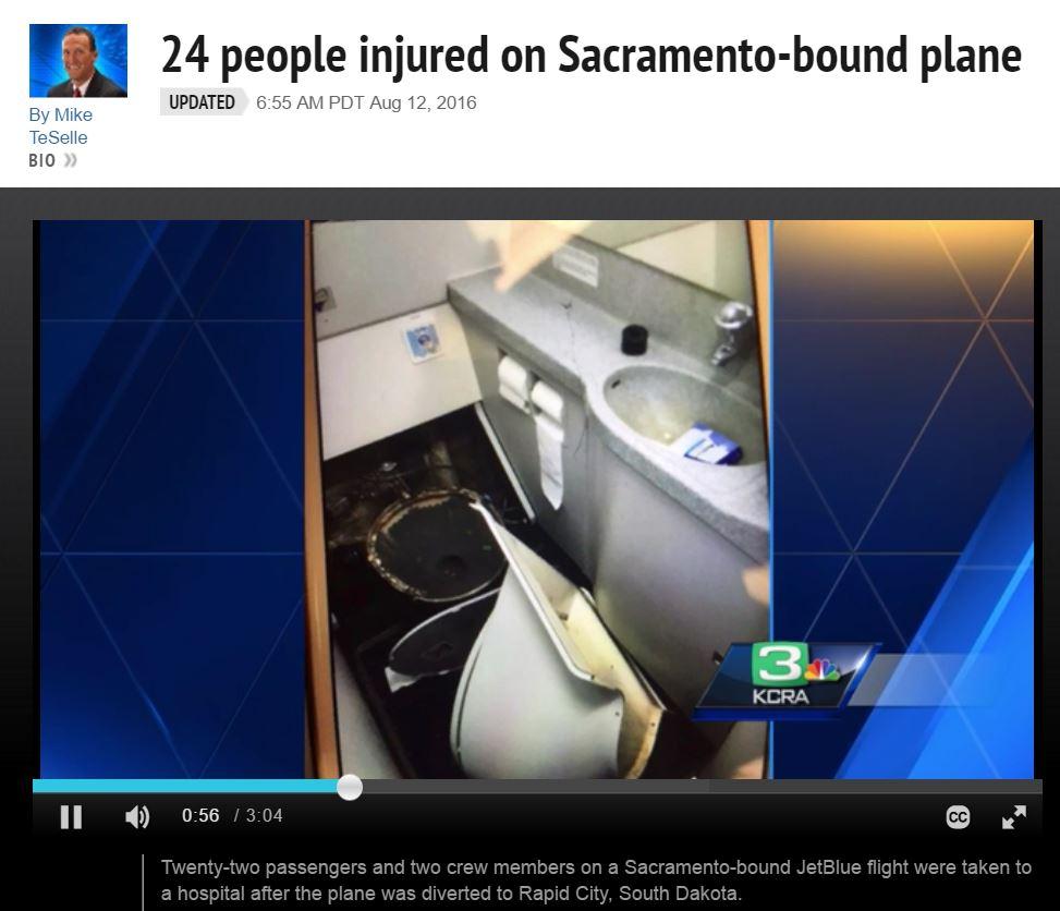 【海外発!Breaking News】便器もすっ飛んだ乱気流 24名負傷の米LCCジェットブルー機、驚きの写真と証言
