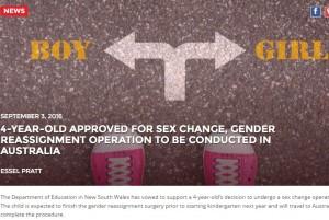 【海外発!Breaking News】教育省が4歳児の「性転換手術支持」を表明 猛烈な批判を浴びる(豪)