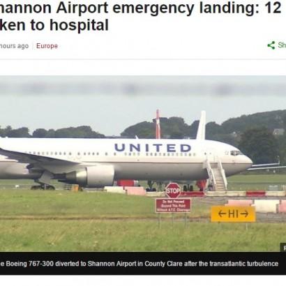 【海外発!Breaking News】ユナイテッド機アイルランド上空で乱気流に 天井に体を強打し12名が救急搬送