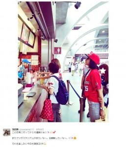 マツダスタジアムで広島を応援する浅田舞(出典:https://twitter.com/asadamai717)