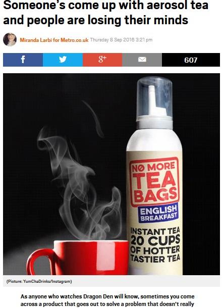【海外発!Breaking News】イギリスでスプレー噴射の紅茶が発売「もうティーバッグは不要」