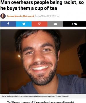 【海外発!Breaking News】カフェの隣席で差別発言をした高齢女性に紅茶を奢った男性 レシートに書いたメッセージに賛否(豪)