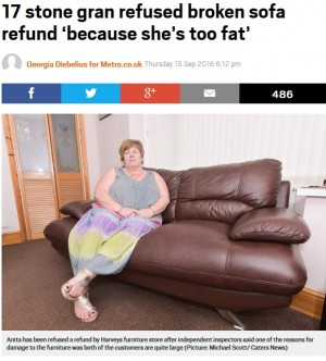 【海外発!Breaking News】壊れたソファの払い戻しを店側が拒否 理由は「アンタたちが太りすぎ」(英)