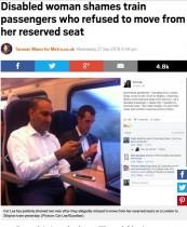 【海外発!Breaking News】障がい者の予約席に座った男性 席を譲らず ネットは怒りの渦に(英)