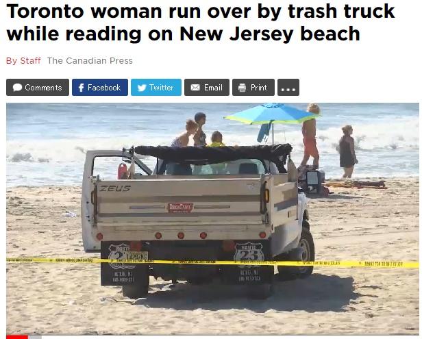 米ビーチで女性がゴミ収集車にひかれる(出典:http://globalnews.ca)