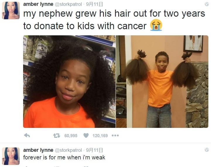 2年間髪を伸ばし続けた少年(出典:https://twitter.com/storkpatrol)