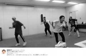 稽古中の福田彩乃(出典:https://twitter.com/yanofukuda)