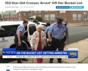 【海外発!Breaking News】102歳の高齢女性 念願かなってパトカーで連行される(米)