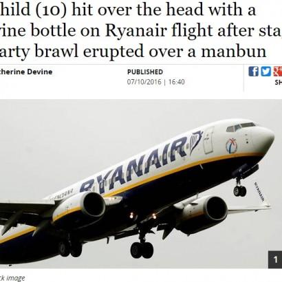 【海外発!Breaking News】ライアンエアー機内で泥酔男ら大暴れ ワインボトルで10歳少年の頭を殴る