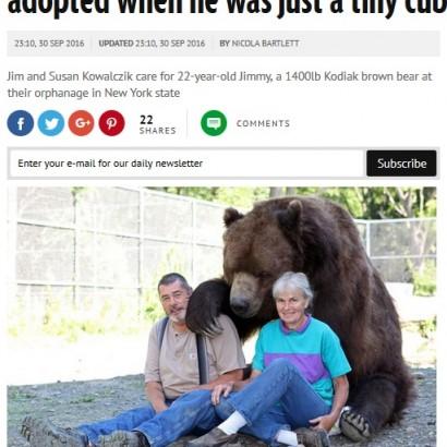 【海外発!Breaking News】「まるで我が子のよう」635kgのヒグマと暮らす夫婦(米)
