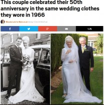 【海外発!Breaking News】50年前のウエディングドレス! 金婚式に着て周りを驚かせた女性(英)