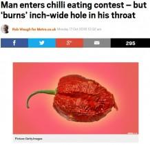 【海外発!Breaking News】世界で2番目に辛いチリを食べた男性 食道に2.5cmの穴(米)