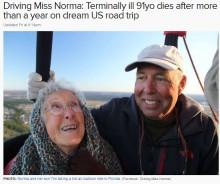 """【海外発!Breaking News】末期がんの91歳女性 """"バケットリスト""""を胸に息子夫婦とアメリカ横断 その人生を全うする"""