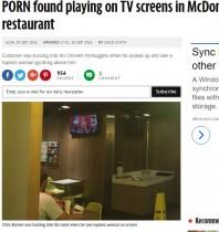 【海外発!Breaking News】マクドナルドの店内テレビに卑猥な映像 何者かがスマホでチャンネル操作か(英)