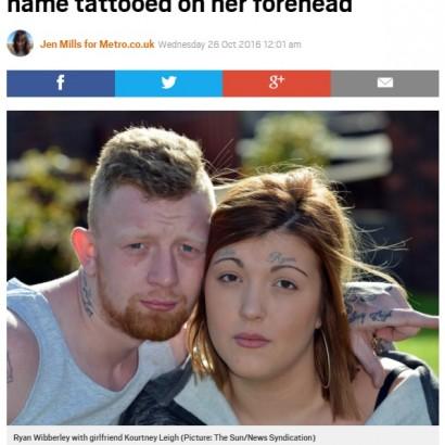 【海外発!Breaking News】「後悔しないの!?」 両眉の上にボーイフレンドの名前タトゥーを彫った女性(英)