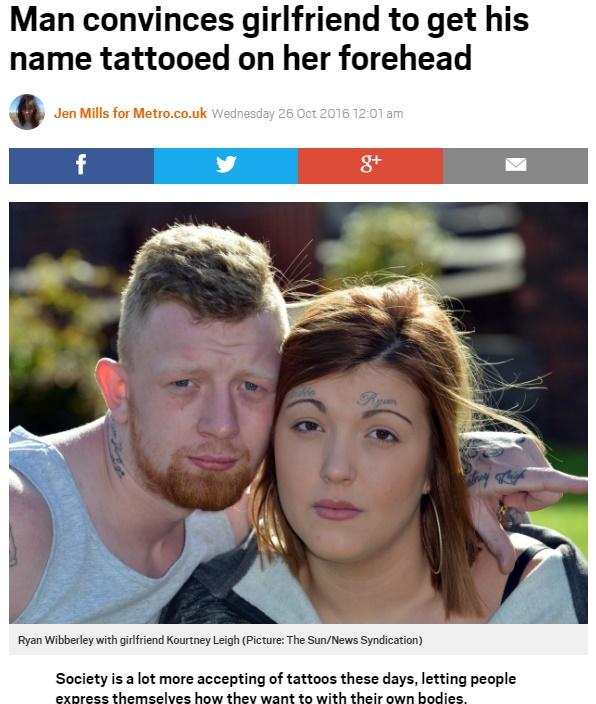 彼氏の名前をタトゥーにして眉毛の上に…はアリ?(出典:http://metro.co.uk)