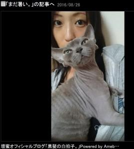 壇蜜と愛猫(出典:http://ameblo.jp/sizuka-ryu)
