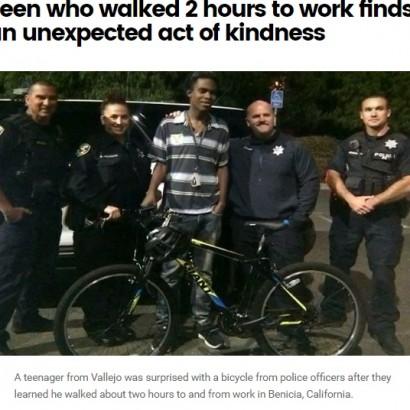 【海外発!Breaking News】片道2時間半 徒歩通勤の勤勉な18歳に警察がピカピカの自転車を贈る(米)