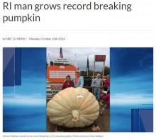 【海外発!Breaking News】世界一巨大なカボチャなんと1,025kg 米ロードアイランド州の農家また世界新記録を更新