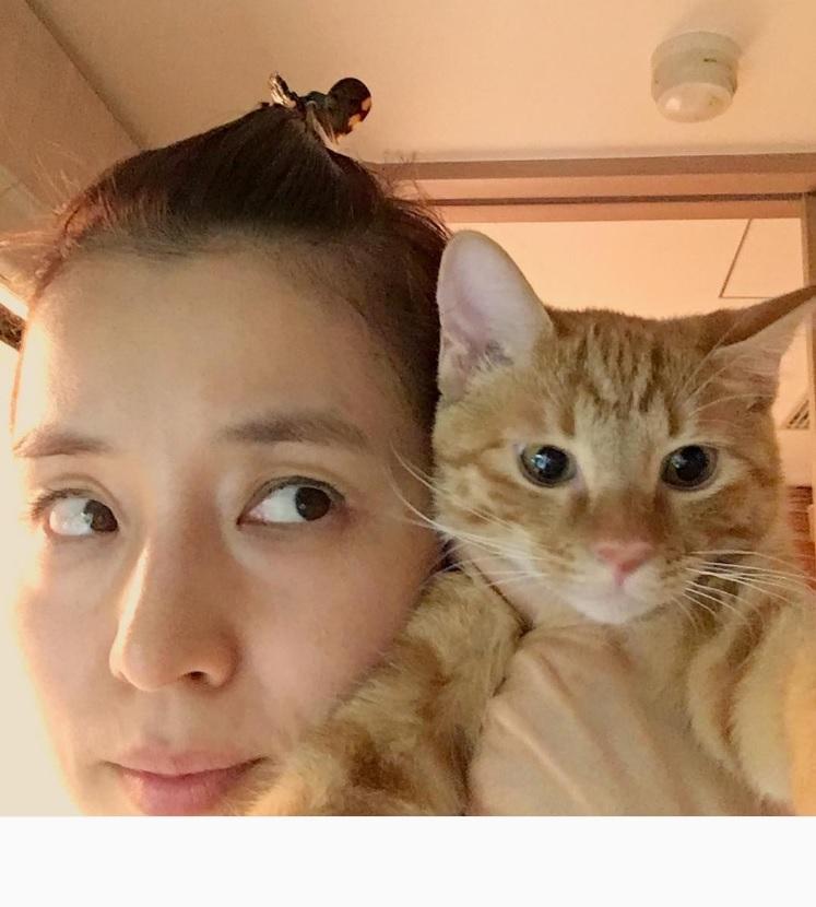「猫で暖をとる」石田ゆり子(出典:https://www.instagram.com/yuriyuri1003)