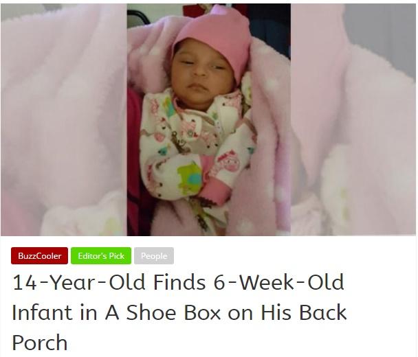 ナイキの箱に入った赤ちゃん、置き去りに(出典:http://newsbuzz58.com)