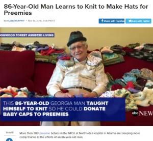 【海外発!Breaking News】「未熟児を温めたい」 86歳の優しいおじいちゃん、ニット帽を編む日々(米)