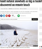 【海外発!Breaking News】まさに白い大砲 ロシア北部の沿岸で巨大な雪の塊が!
