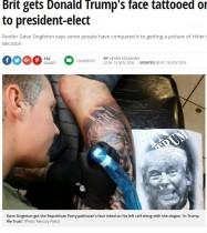 【海外発!Breaking News】「我々はトランプ氏を信じます」 左脚に大型タトゥーを彫った英男性