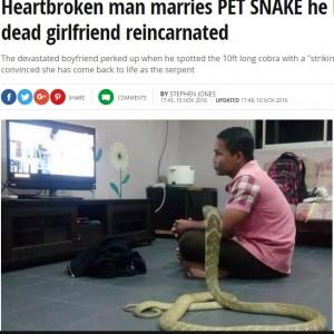 【海外発!Breaking News】コブラと結婚する男性 「死んでしまった恋人の生まれ変わり」(シンガポール)