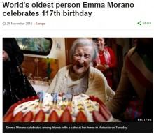 【海外発!Breaking News】世界最高齢の女性 117歳に 長生きの秘訣は卵!(伊)