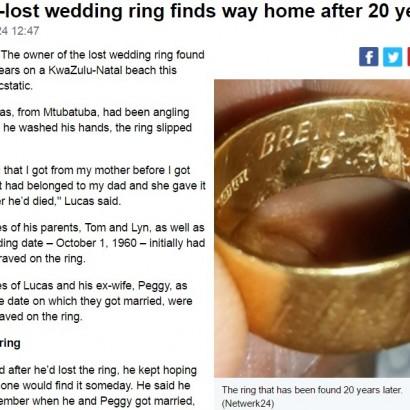 【海外発!Breaking News】海で波にさらわれた指輪、20年後に持ち主のもとへ(南ア)