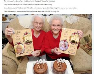 【海外発!Breaking News】イギリスで双子の姉妹がそろって100歳に 健康長寿の秘訣はやはり…!?