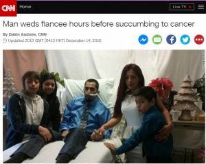 【海外発!Breaking News】最期の願いは「彼女との結婚」 挙式の36時間後に息を引き取った男性(米)