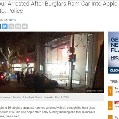 【海外発!Breaking News】Appleストアに車で突入 ティーン窃盗集団の大胆犯行(米)