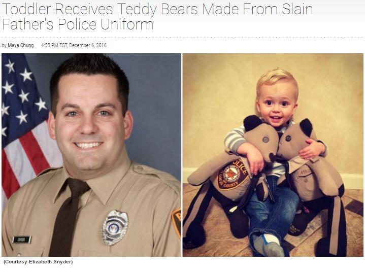 殉職した警察官の制服、遺児のテディベアになる(出典:http://www.insideedition.com)