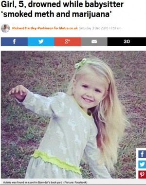 【海外発!Breaking News】ドラッグを使用しながらベビーシッターをした女 5歳児を溺死させる(米)