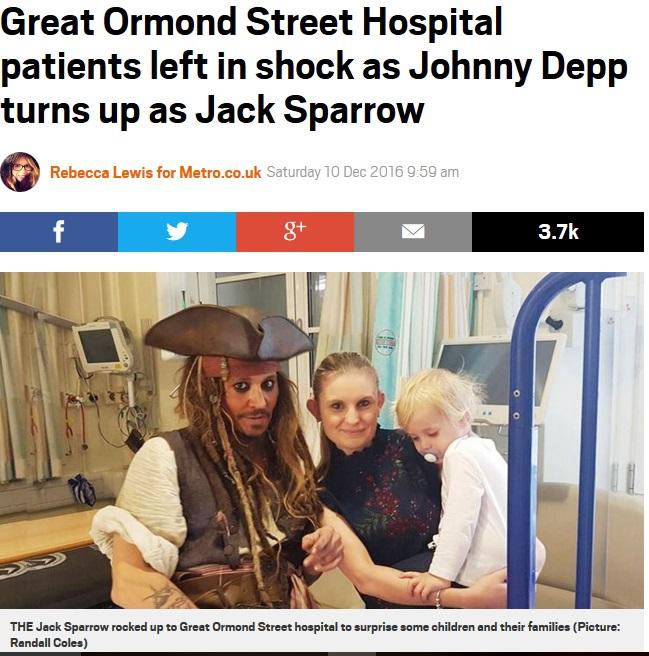 入院中の子供たちをサプライズ訪問したジョニー・デップ(http://metro.co.uk)