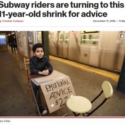 【海外発!Breaking News】地下鉄ホームで11歳少年による「お悩み相談」 忙しいニューヨーカーたちの癒しに