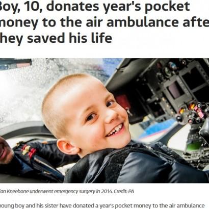 【海外発!Breaking News】10歳の少年、命を救ってくれた航空救急隊に1年間貯めたお小遣いを寄付(英)