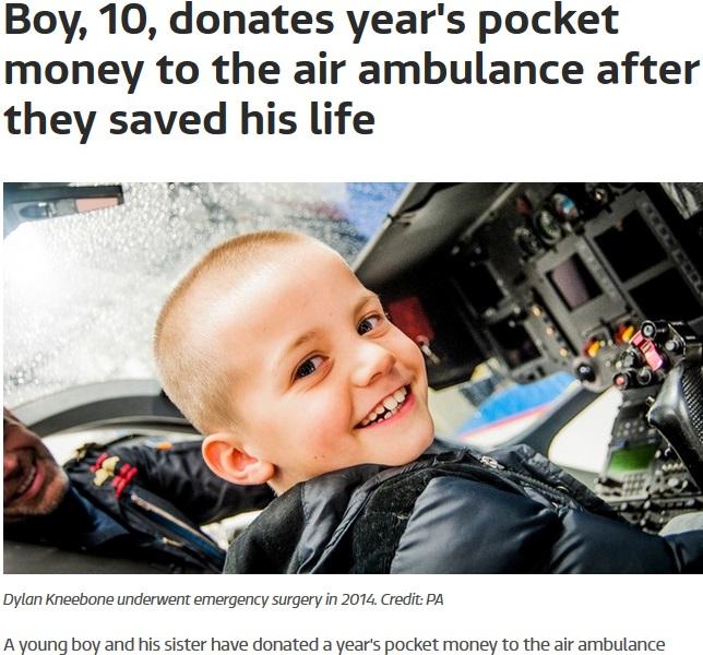 命を救ってくれた航空救急隊にお小遣いを寄付した少年(出典:http://www.itv.com)