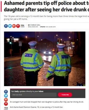 【海外発!Breaking News】18歳娘の飲酒運転を知った両親、警察に通報 1年間の免停と罰金処分に(英)