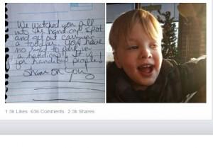 【海外発!Breaking News】身障者用スペースに駐車した親子に心無い手紙 目に見えない障がいへの理解を求める母(米)