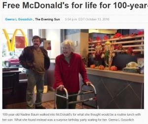 """【海外発!Breaking News】マック常連100歳女性 誕生日に""""生涯フリーチケット""""をプレゼントされる(米)"""