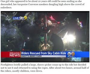 【海外発!Breaking News】21名、地上30mのアトラクションに8時間も閉じ込められる LA郊外の遊園地で