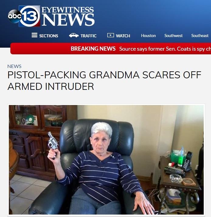 おばあちゃんがピストルで不法侵入者を撃退(出典:http://abc13.com)