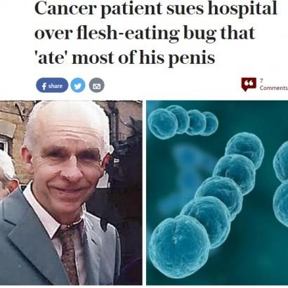 【海外発!Breaking News】がん摘出手術失敗が原因で人食いバクテリアに感染 ペニスを失った男性(英)