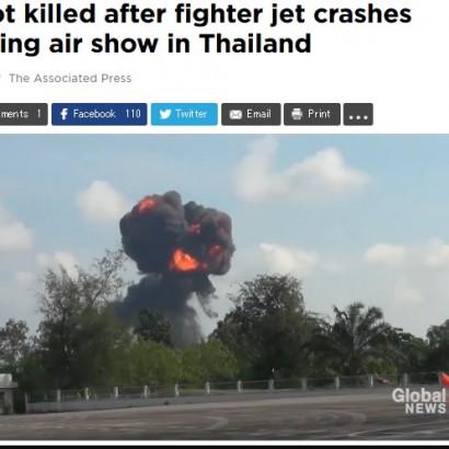 【海外発!Breaking News】戦闘機が真っ逆さまに墜落炎上 タイ航空ショーで子供ら大きな悲鳴<動画あり>