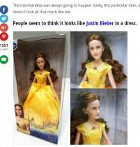 【イタすぎるセレブ達】エマ・ワトソンがモデルの『美女と野獣』人形 ジャスティン・ビーバーに激似!?