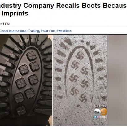 【海外発!Breaking News】「ナチス」かぎ十字の足跡にAmazonも激怒!? 米ブーツメーカー問題の商品を撤収
