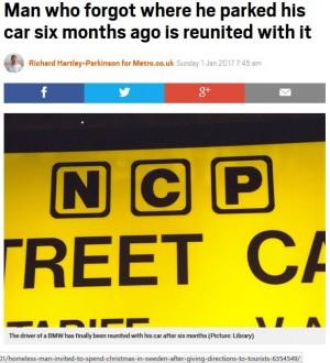 【海外発!Breaking News】駐車料金は72万円!? 駐車場所を忘れられた車が半年ぶりに発見される(英)